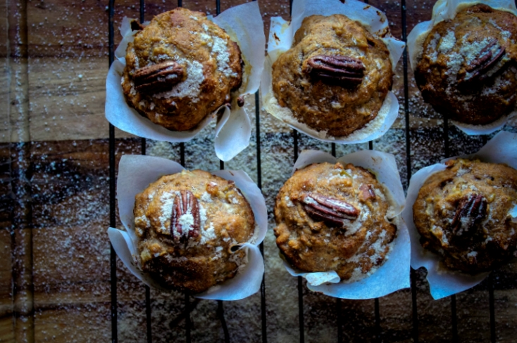 Inked in Colour: Pear and Pecan Spelt Muffins